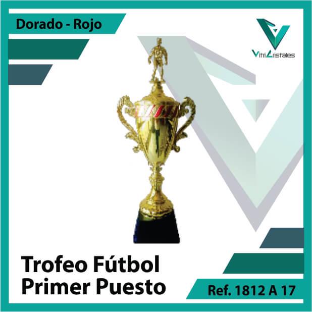 trofeo de futbol 1812a17 dorado y rojo primer puesto