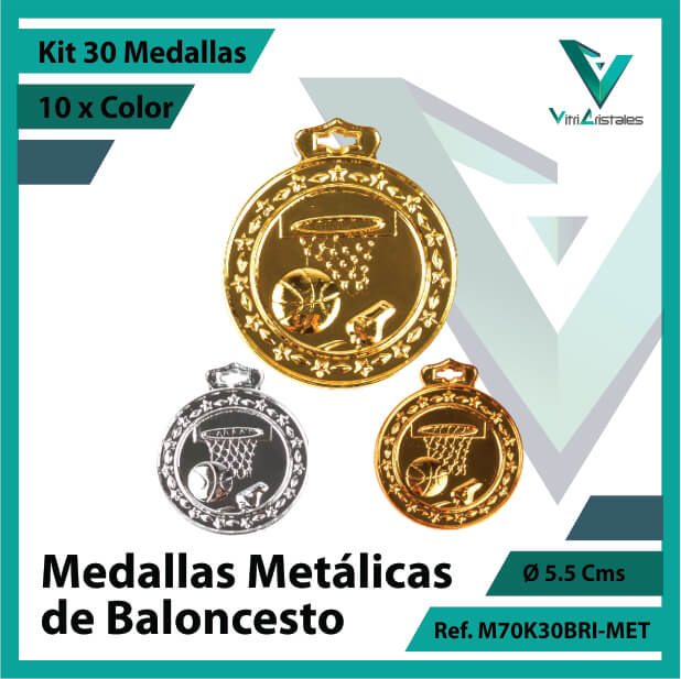 kit de medallas deportivas de baloncesto metalicas x 30 unidades ref m70k30bri-met