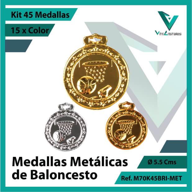 kit de medallas deportivas de baloncesto metalicas x 45 unidades ref m70k45bri-met
