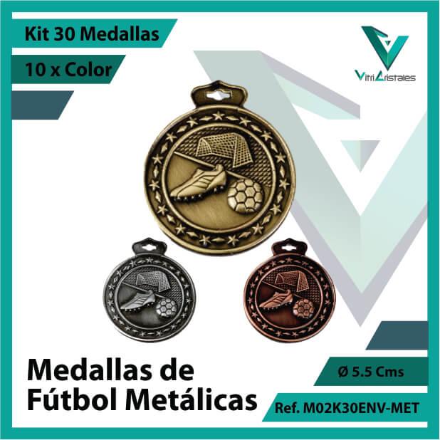 kit de medallas deportivas de futbol metalicas x 30 unidades ref m02k30env-met