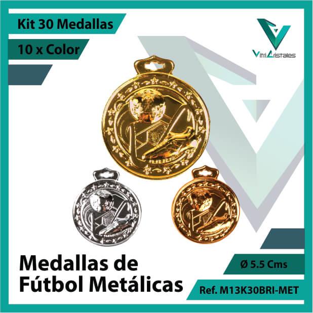 kit de medallas deportivas de futbol metalicas x 30 unidades ref m13k30bri-met