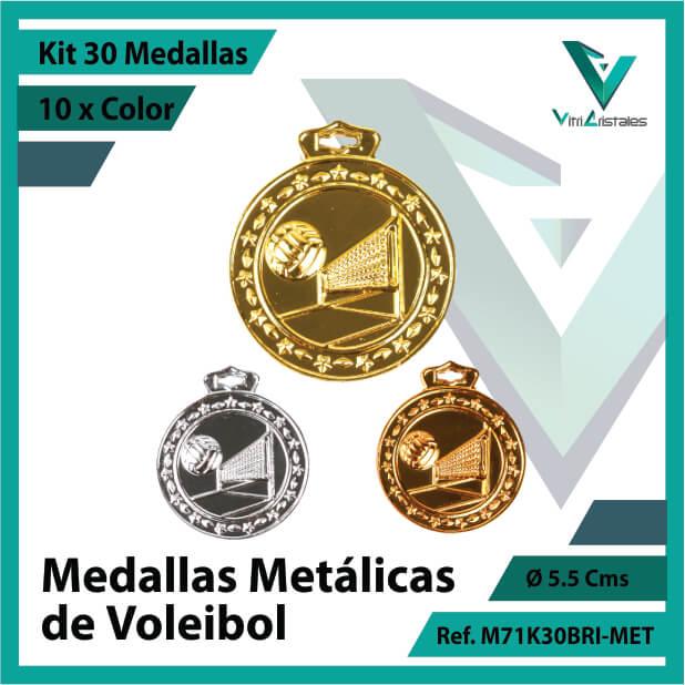kit de medallas deportivas de voleibol metalicas x 30 unidades ref m71k30bri-met