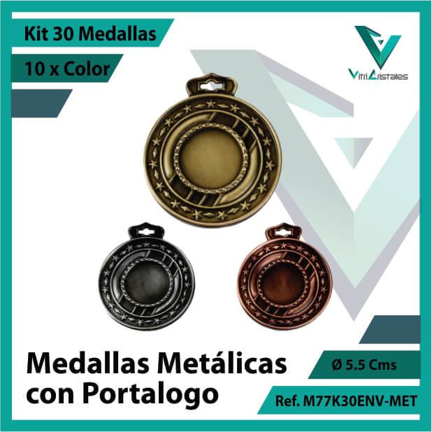 kit de medallas en cali metalicas con portalogo x 30 unidades ref m77k30env-met