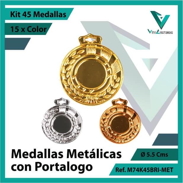 kit de medallas en cali metalicas con portalogo x 45 unidades ref m74k45bri-met