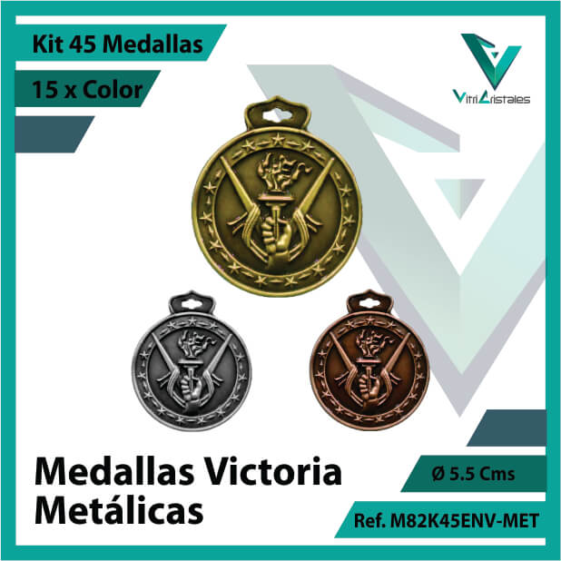 kit de medallas en cali victoria metalicas x 45 unidades ref m82k45env-met