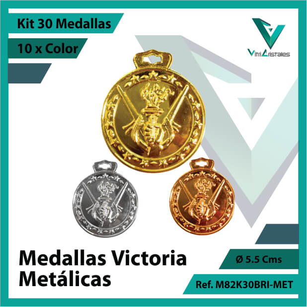 kit de medallas en medellin victoria metalicas x 30 unidades ref m82k30bri-met