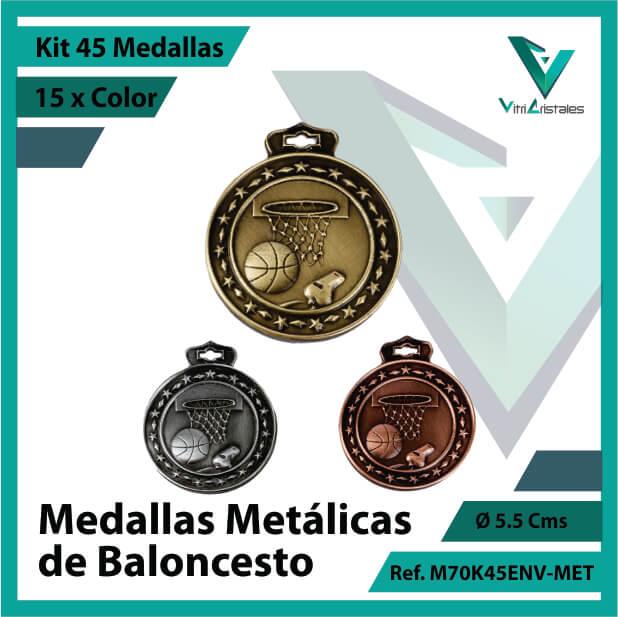 kit de medallas en oro plata y bronce de baloncesto metalicas x 45 unidades ref m70k45env-met