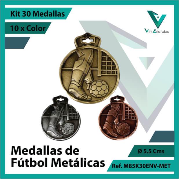 kit de medallas en oro plata y bronce de futbol metalicas x 30 unidades ref m85k30env-met