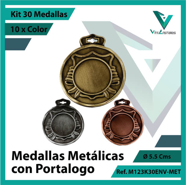 kit de medallas en oro plata y bronce metalicas con portalogo x 30 unidades ref m123k30env-met