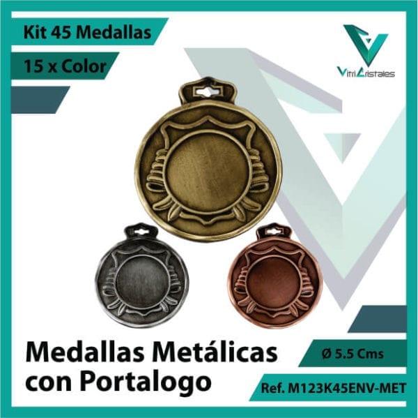 kit de medallas en oro plata y bronce metalicas con portalogo x 45 unidades ref m123k45env-met