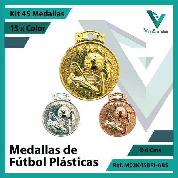 kit de medallas para niños de futbol plasticas x 45 unidades ref m03k45bri-abs