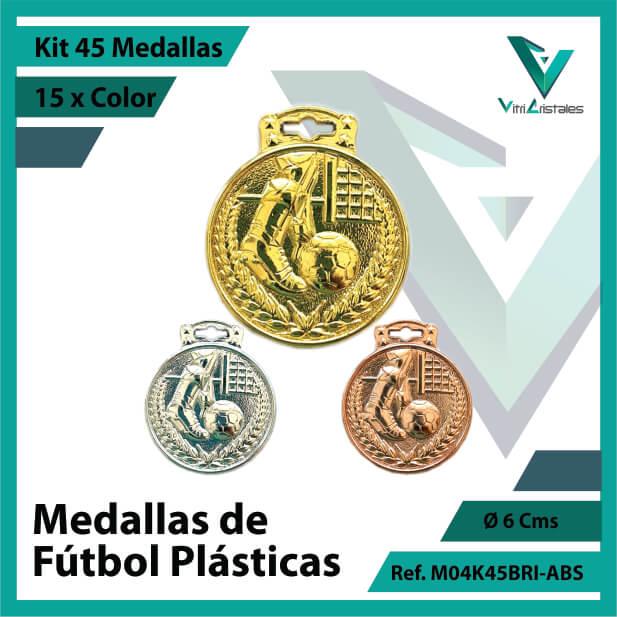 kit de medallas para niños de futbol plasticas x 45 unidades ref m04k45bri-abs