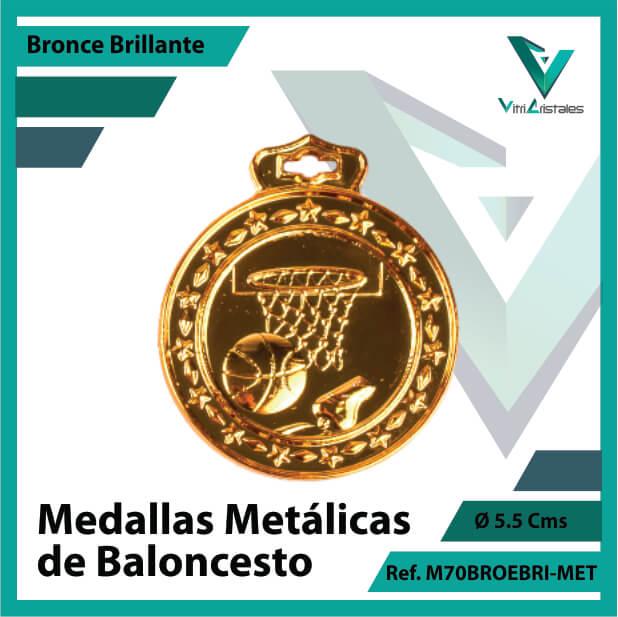 medallas deportivas de baloncesto metalicas color bronce brillante ref m70brobri-met