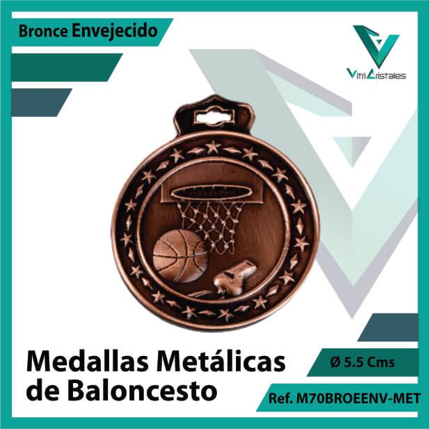 medallas deportivas de baloncesto metalicas color bronce envejecido ref m70broenv-met