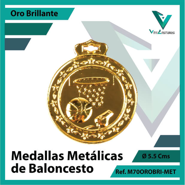 medallas deportivas de baloncesto metalicas color oro brillante ref m70orobri-met