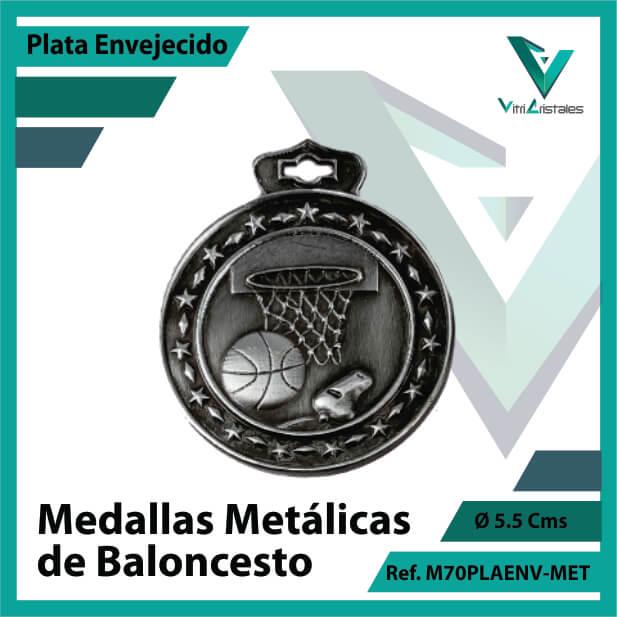 medallas deportivas de baloncesto metalicas color plata envejecido ref m70plaenv-met