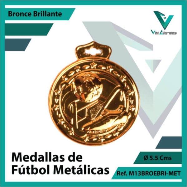 medallas deportivas de futbol metalicas color bronce brillante ref m13brobri-met