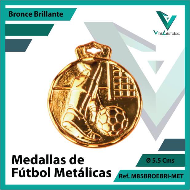 medallas deportivas de futbol metalicas color bronce brillante ref m85brobri-met