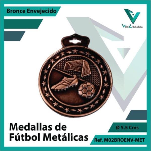 medallas deportivas de futbol metalicas color bronce envejecido ref