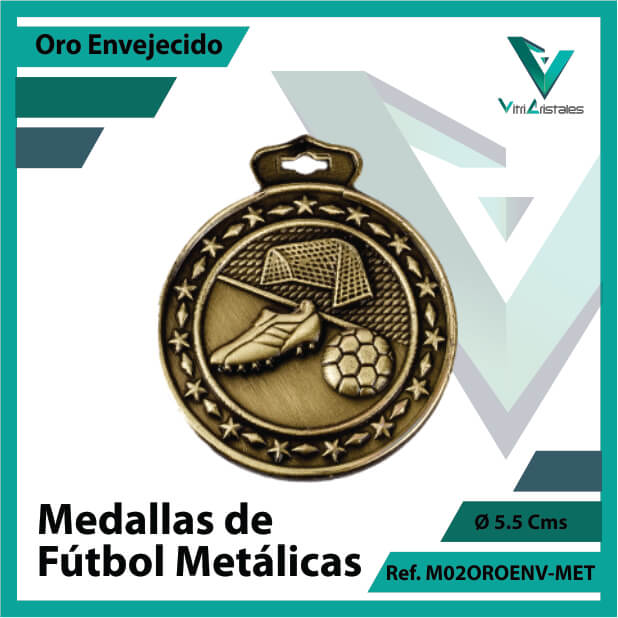 medallas deportivas de futbol metalicas color oro envejecido ref m02oroenv-met