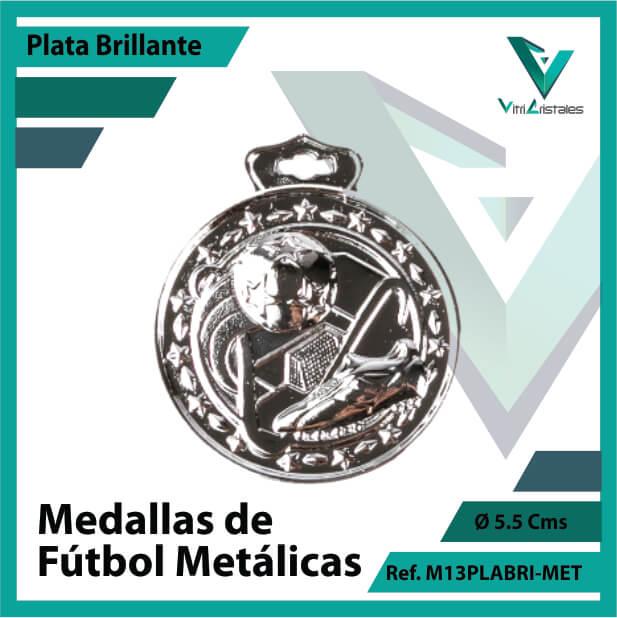 medallas deportivas de futbol metalicas color plata brillante ref m13plabri-met
