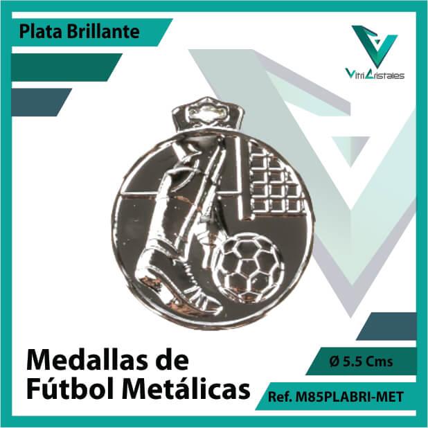medallas deportivas de futbol metalicas color plata brillante ref m85plabri-met