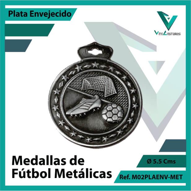 medallas deportivas de futbol metalicas color plata envejecido ref m02plaenv-met