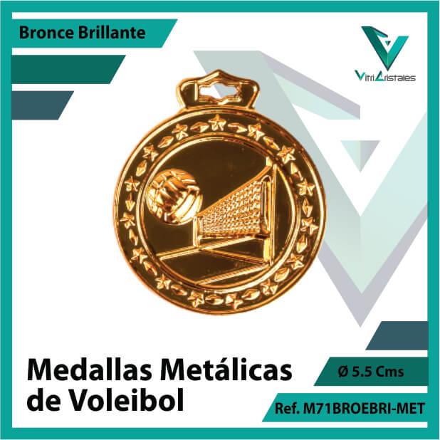 medallas deportivas de voleibol metalicas color bronce brillante ref m71brobri-met