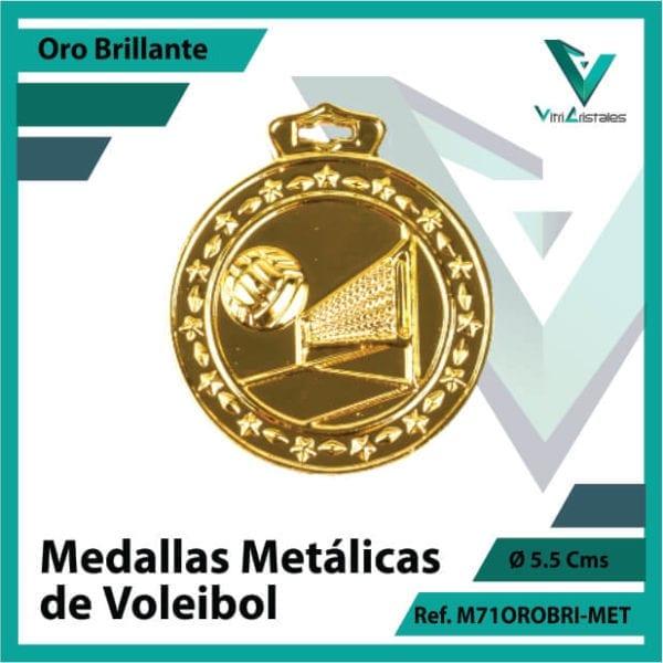 medallas deportivas de voleibol metalicas color oro brillante ref m71orobri-met