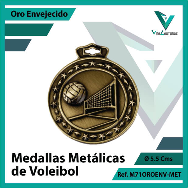 medallas deportivas de voleibol metalicas color oro envejecido ref m71oroenv-met