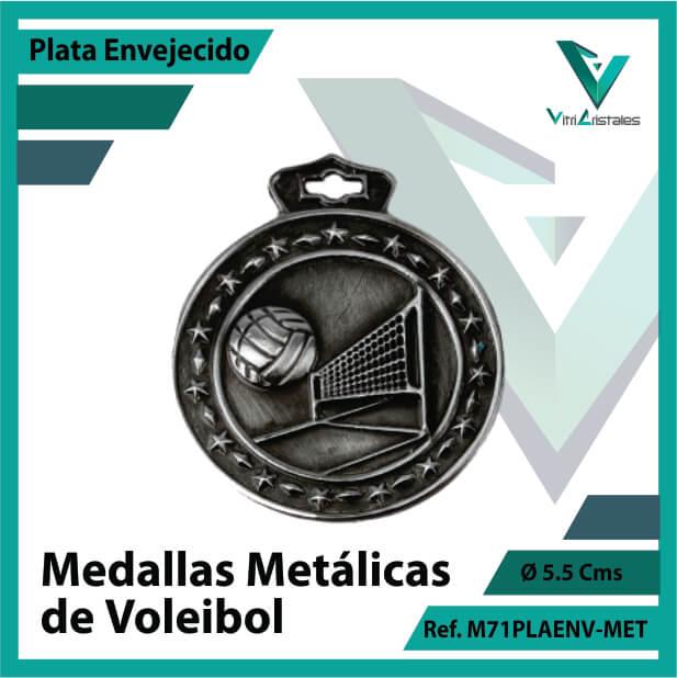 medallas deportivas de voleibol metalicas color plata envejecido ref m71plaenv-met