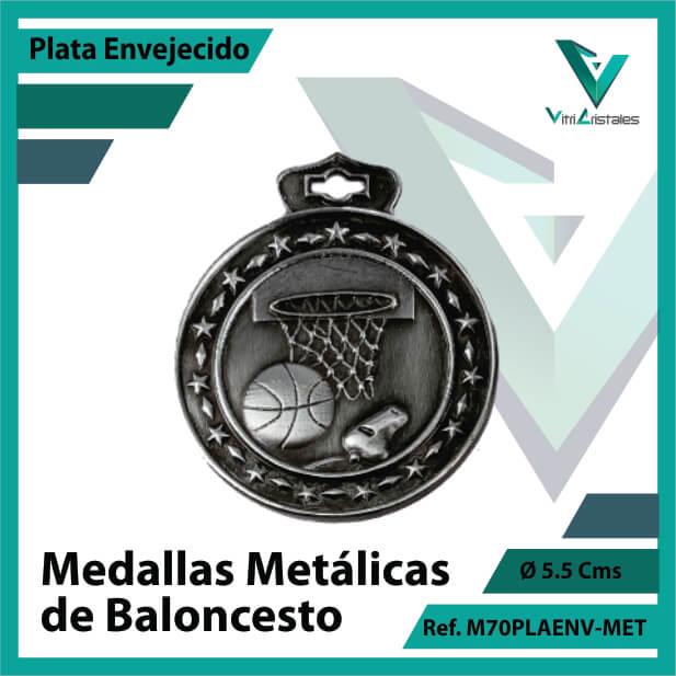 medallas en bogota de baloncesto metalicas color plata envejecido ref m70plaenv-met