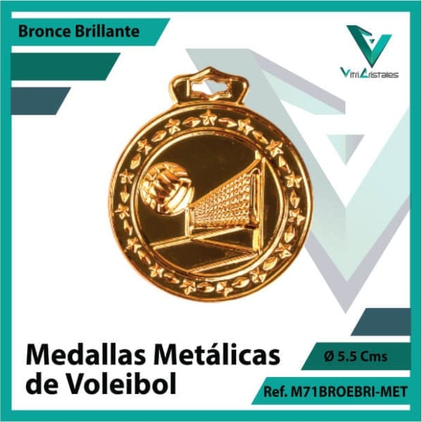 medallas en bogota de voleibol metalicas color bronce brillante ref m71brobri-met