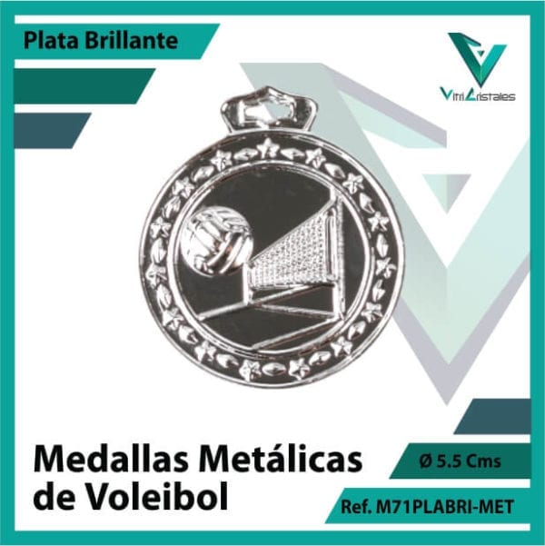 medallas en bogota de voleibol metalicas color plata brillante ref m71plabri-met