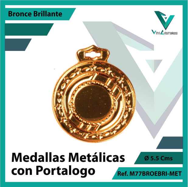 medallas en bogota metalicas con portalogo color bronce brillante ref m77brobri-met