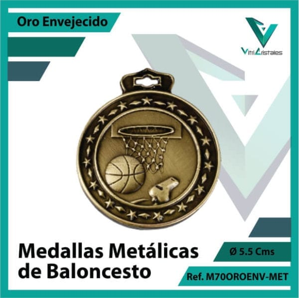 medallas en cali de baloncesto metalicas color oro envejecido ref m70oroenv-met