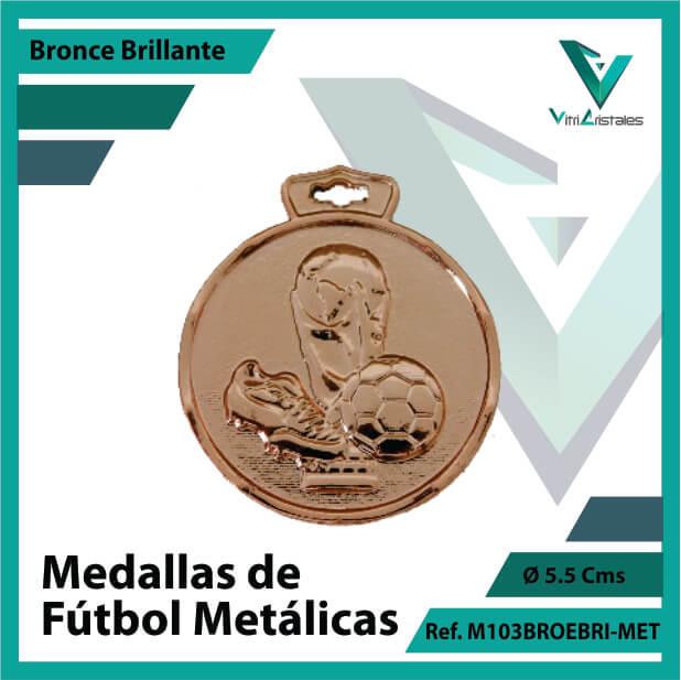 medallas en cali de futbol metalicas color bronce brillante ref m103brobri-met
