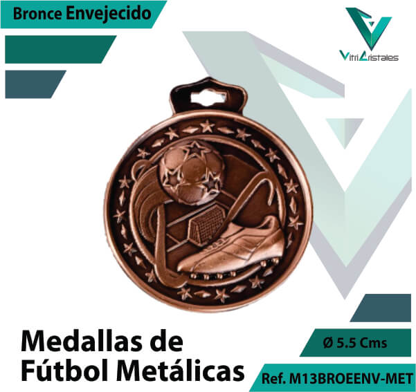 medallas en cali de futbol metalicas color bronce envejecido ref m13broenv-met