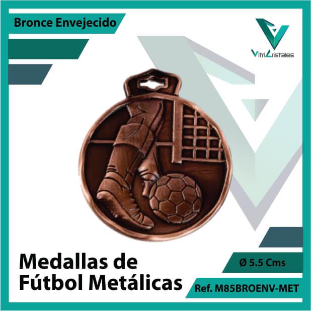 medallas en cali de futbol metalicas color bronce envejecido ref m85broenv-met