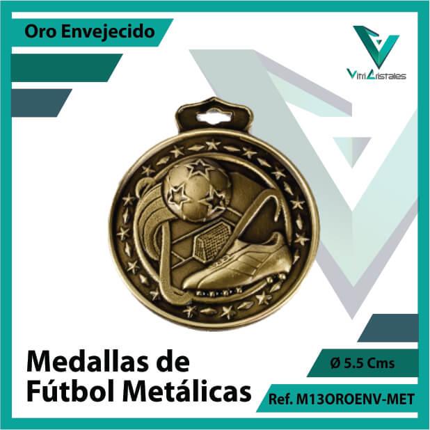 medallas en cali de futbol metalicas color oro envejecido ref m13oroenv-met