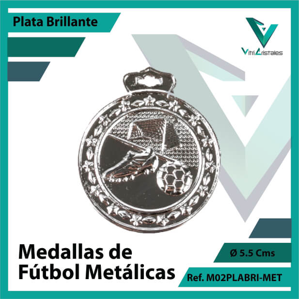 medallas en cali de futbol metalicas color plata brillante ref m02plabri-met