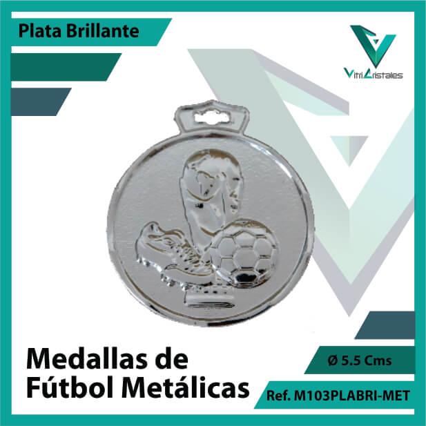 medallas en cali de futbol metalicas color plata brillante ref m103plabri-met