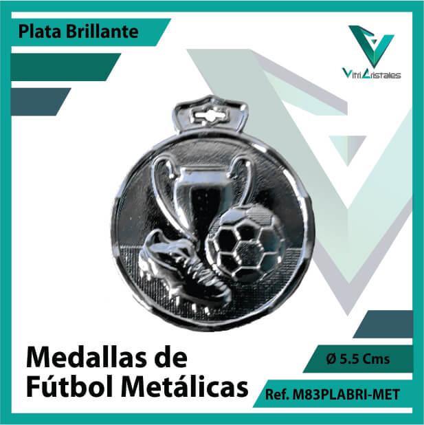 medallas en cali de futbol metalicas color plata brillante ref m83plabri-met