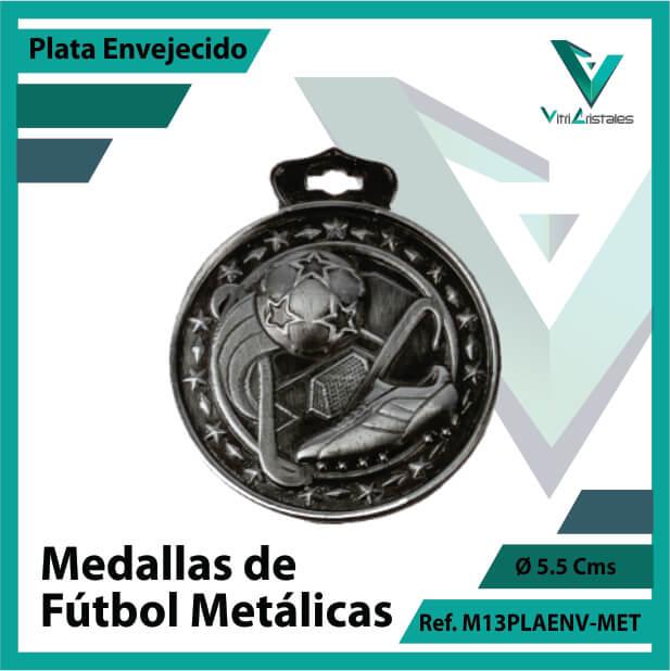 medallas en cali de futbol metalicas color plata envejecido ref m13plaenv-met