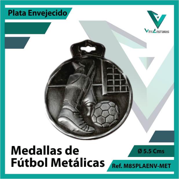 medallas en cali de futbol metalicas color plata envejecido ref m85plaenv-met
