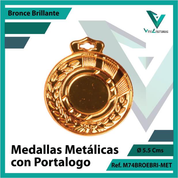 medallas en cali metalicas con portalogo color bronce brillante ref m74brobri-met