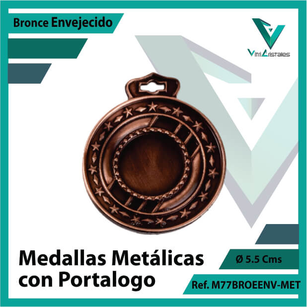 medallas en cali metalicas con portalogo color bronce envejecido ref m77broenv-met