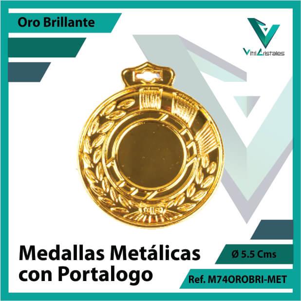 medallas en cali metalicas con portalogo color oro brillante ref m74orobri-met