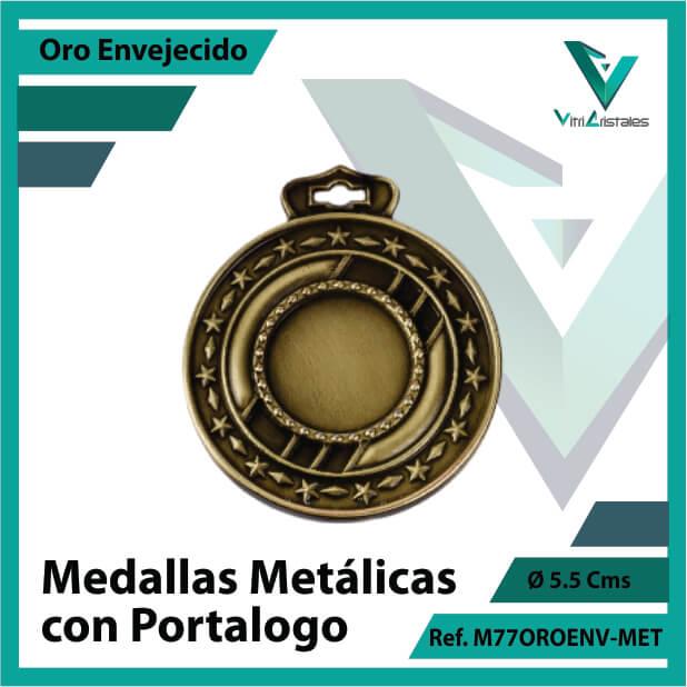 medallas en cali metalicas con portalogo color oro envejecido ref m77oroenv-met