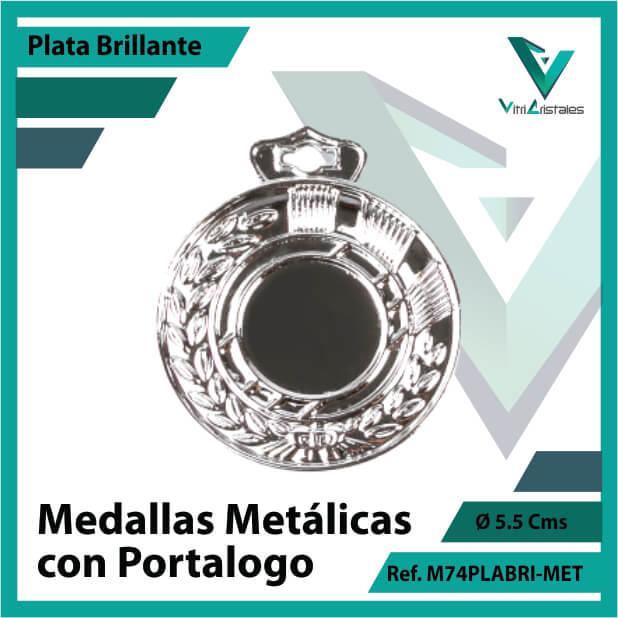 medallas en cali metalicas con portalogo color plata brillante ref m74plabri-met